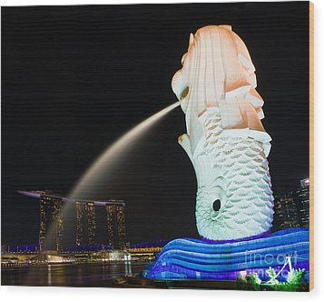 The Merlion - Singapore Wood Print by Pete Reynolds