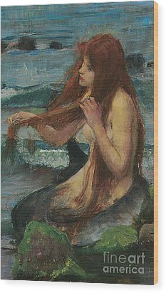 The Mermaid Wood Print by John William Waterhouse