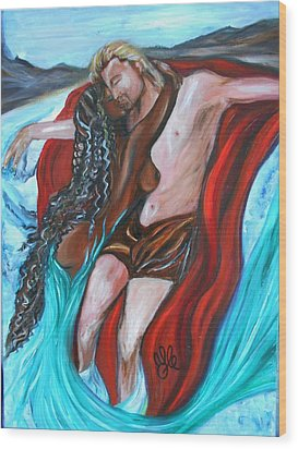 The Mermaid - Love Without Boundaries- Interracial Lovers Series Wood Print