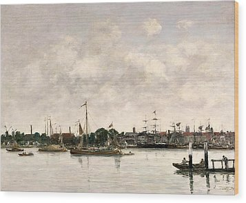 The Meuse At Dordrecht Wood Print by Eugene Louis Boudin