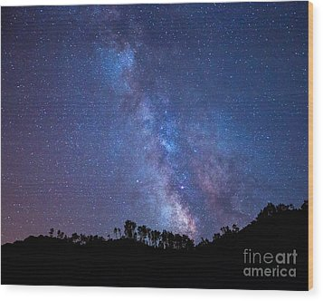 The Milky Way Over The Mountain Wood Print