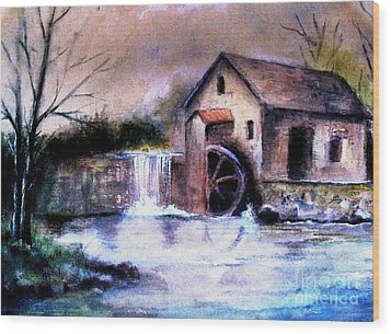 Wood Print featuring the painting The Millstream by Hazel Holland