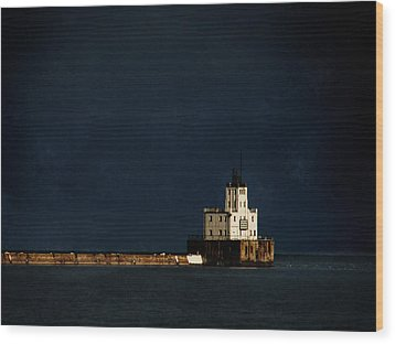 The Milwaukee Breakwater Lighthouse Wood Print by David Blank