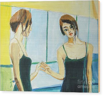 The Mirror Has Two Faces Wood Print by Judy Kay