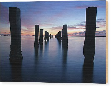 The Missing Pier At Sunset Wood Print by Daniel Woodrum