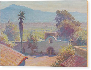 The Mission At Tubac Wood Print by Ernest Principato