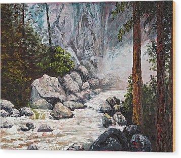 The Mist At Bridalveil Falls Wood Print by Darice Machel McGuire
