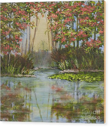 The Mist Beyond With Gold Leaf By Vic Mastis Wood Print by Vic  Mastis