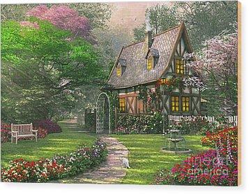 The Misty Lane Cottage Wood Print by Dominic Davison