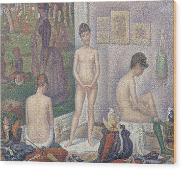 The Models Wood Print by Georges Pierre Seurat