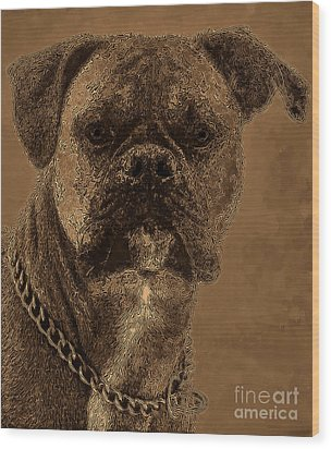The Modern Boxer Bulldog Wood Print by Lesa Fine