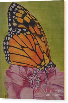Wood Print featuring the painting The Monarch by Suzette Kallen