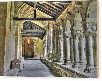The Monastery Corridors Wood Print by Ines Bolasini