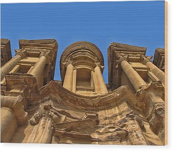 Wood Print featuring the photograph The Monastery In Petra by David Gleeson