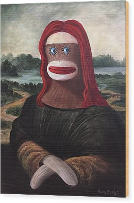Wood Print featuring the painting The Monkey Lisa by Randol Burns