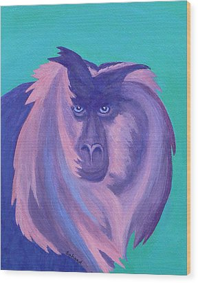 Wood Print featuring the painting The Monkey's Mane by Margaret Saheed