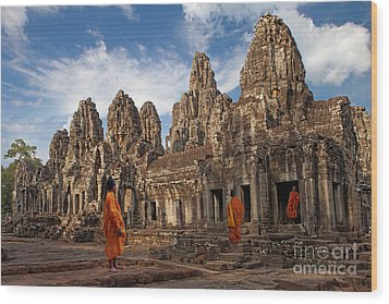 The Monks Of Bayon Wood Print by Pete Reynolds