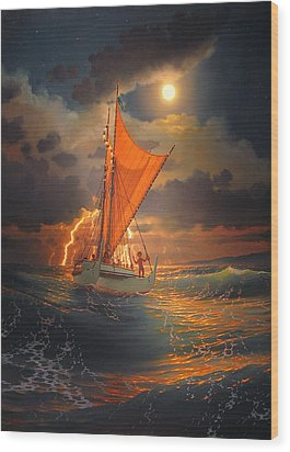 The Mo'okiha O Pi'ilani Sailing In Front Of The Storm In The Moonlight Wood Print by Loren Adams