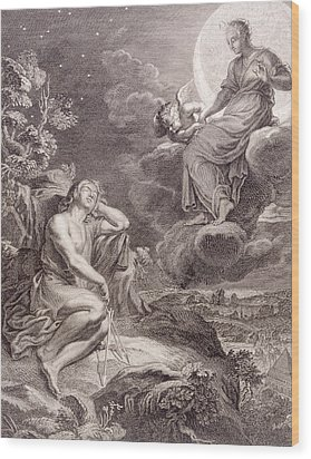 The Moon And Endymion Wood Print by Bernard Picart
