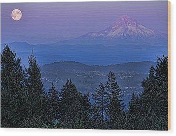 The Moon Beside Mt. Hood Wood Print by Don Schwartz