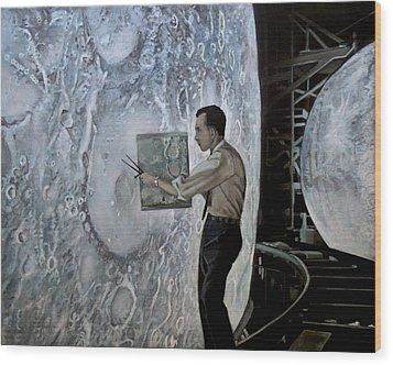 The Moon Builders - Lunar Orbit And Let-down Approach Simulator.  Wood Print by Simon Kregar