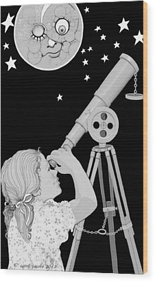 Wood Print featuring the digital art The Moon Looks Back by Carol Jacobs