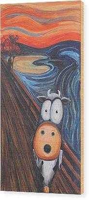 The Moooooo Wood Print by Jennifer Alvarez