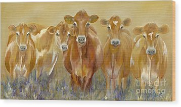 The Morning Moo Wood Print by Catherine Davis