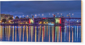 Wood Print featuring the photograph Morrison Bridge Reflections by Thom Zehrfeld
