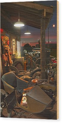 The Motorcycle Shop 2 Wood Print by Mike McGlothlen