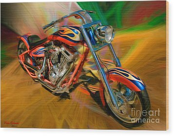 The Motorcyclerow Wood Print by Blake Richards