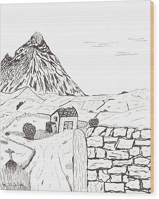 Wood Print featuring the drawing The Mountain Beyond The Fields by Martin Blakeley