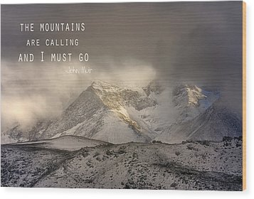 The Mountains Are Calling And I Must Go  John Muir Vintage Wood Print by Guido Montanes Castillo