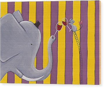 The Mouse And The Elephant Wood Print by Christy Beckwith
