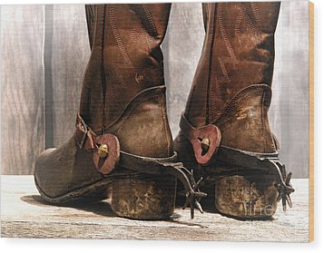 The Muddy Boots Wood Print by Olivier Le Queinec