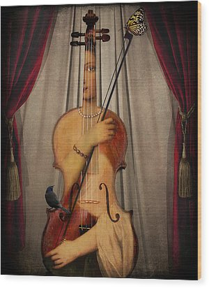The Musician Wood Print by Marie  Gale