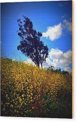 The Mustard Hillside Wood Print by Lisa Holland-Gillem