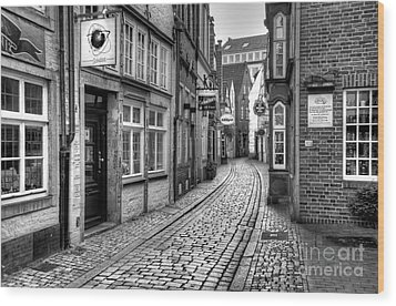 The Narrow Cobblestone Street Wood Print