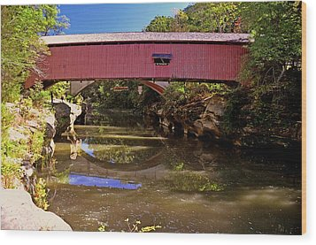 The Narrows Covered Bridge 1 Wood Print by Marty Koch