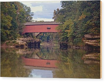 The Narrows Covered Bridge 4 Wood Print by Marty Koch