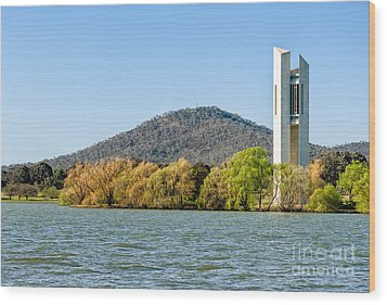 The National Carillon And Lake Burley Griffin - Canberra - Australia Wood Print by David Hill