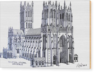 The National Cathedral Wood Print by Frederic Kohli