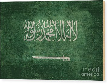 The National Flag Of  Kingdom Of Saudi Arabia  Vintage Version Wood Print