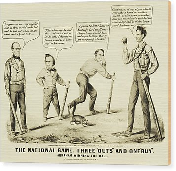 The National Game - Abraham Lincoln Plays Baseball Wood Print by Bill Cannon