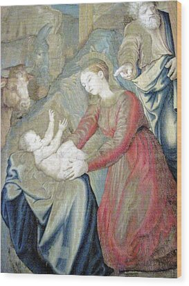The Nativity Photograph Gallery Of Tapestries Vatican Museum Wood Print by Patricia E Sundik