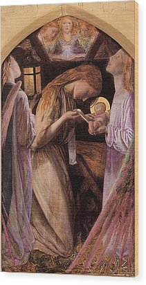 The Nativity With Angel Wood Print by Arthur Hughes