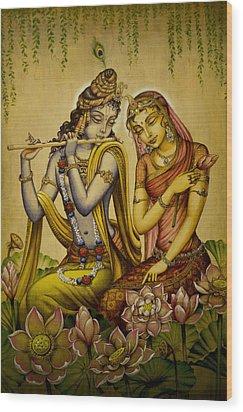 The Nectar Of Krishnas Flute Wood Print by Vrindavan Das