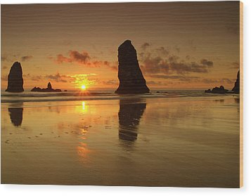 The Needles At Haystack - Cannon Beach Sunset  Wood Print by Brian Harig