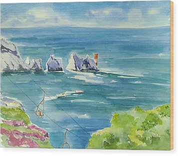 The Needles Isle Of Wight Wood Print by Geeta Biswas