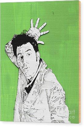 the Neighbor on green Wood Print